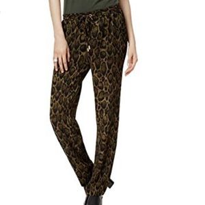 Michael Kors Green Animal Print Drawstring Pants